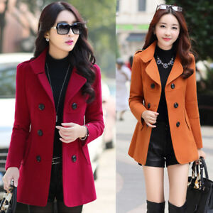 New-women-039-s-Korean-Slim-double-breasted-wool-coat-and-long-sections-coats-jacket