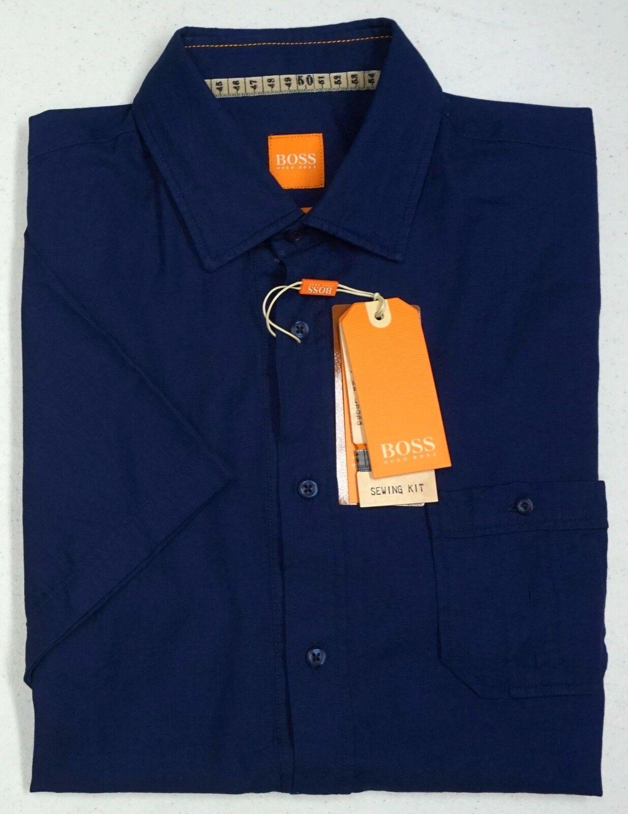 NWT  Hugo Boss Slim Fit Navy bluee Shirt Men M XL 2XL Short Sleeve Button NEW