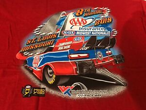 LOT OF 2  NHRA DRAG RACING 2019 MIDWEST NATIONALS RED T- SHIRTS  SIZE XL
