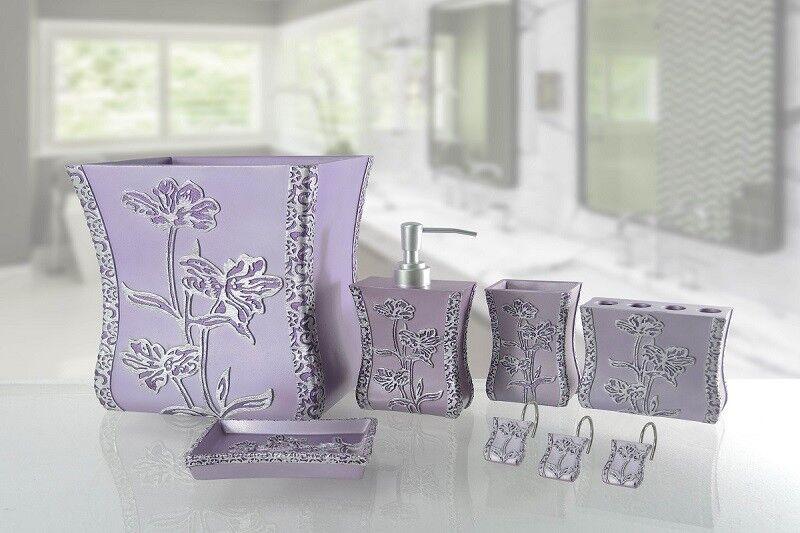 6 Piece Decorative Bathroom Accessory set Made of Ceramic (Paris lila)