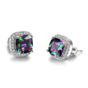 18K-White-Gold-Plated-Square-Mystic-Fire-Rainbow-Gemstone-Topaz-Stud-Earrings
