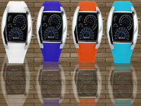 New Fashion Nice Light Silicone Rubber Band Binary DOT Unisex LED Wrist Watch