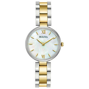 Bulova-Women-039-s-Quartz-Two-Tone-Mother-of-Pearl-Dial-27mm-Watch-98L226