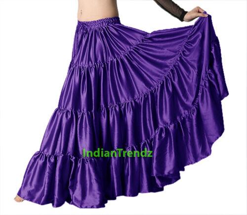Satin 6 yard tiered gypsy jupe belly dance tribal ruffle costume skirt flamenco