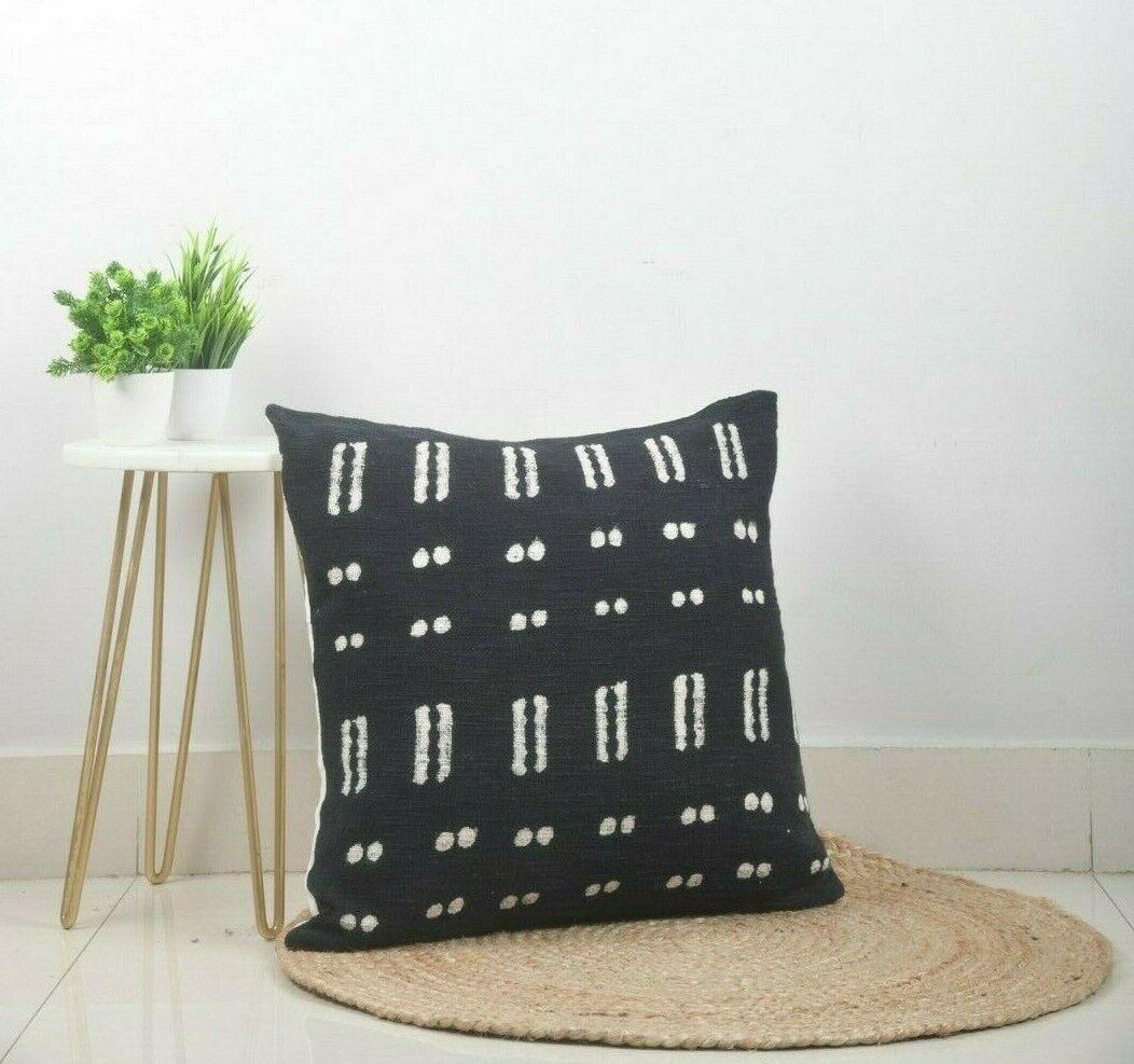 Handgewebt Kissenhülle Mudcloth Schwarz Kissenbezug Blockdruck Bett 45.7cm