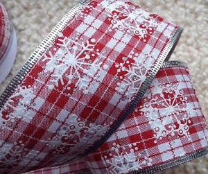 1 M 60 Mm Filaire Naturelle Noël Ruban Scandi Flocon De Neige Rouge Et Blanc, Arbre, Bow-afficher Le Titre D'origine