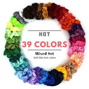 39-Couleurs-Tissu-Cheveux-Anneau-Soie-solide-Scrunchies-Random-couleur