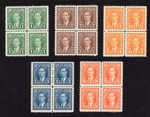 Canada King George VI Mufti Issue Group of Blocks MNH (8 Cent MLH)