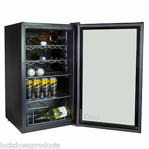 iceQ-93L-Under-Counter-Glass-Door-Display-Wine-amp-Bottle-Drinks-Fridge-Black