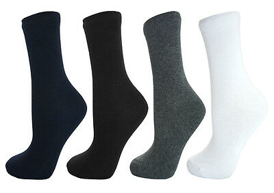 Soxy 12 Pairs Kids Boys Girls Cotton Rich Plain Ankle School Socks Childrens