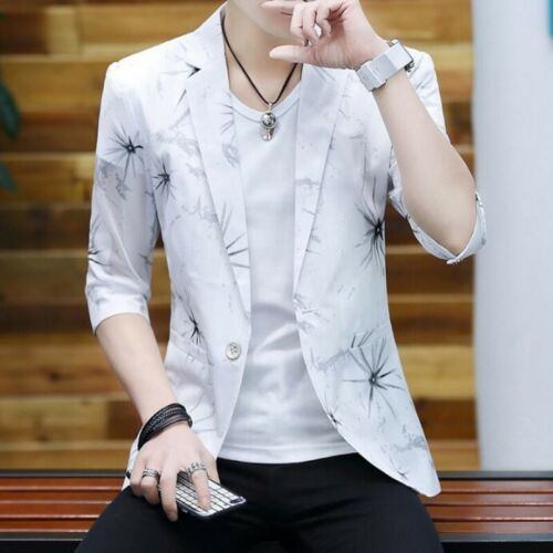 Fashion Men Coats One Button Slim Fit Printing 3//4 Sleeve Korean Handsome Blazer
