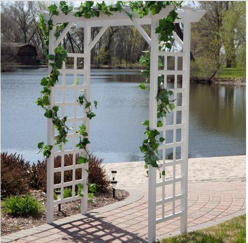 Garden White Arbor Backyard Wedding Decor Climbing Trellis Vinyl Structure  NEW