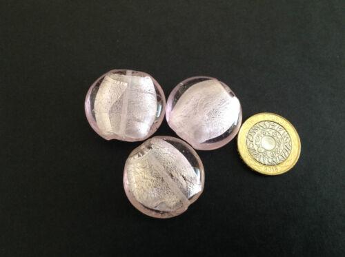 33 mm feuille d/'argent doublé rose Puff coin lampwork Spacer Perles Apprêts Bijoux