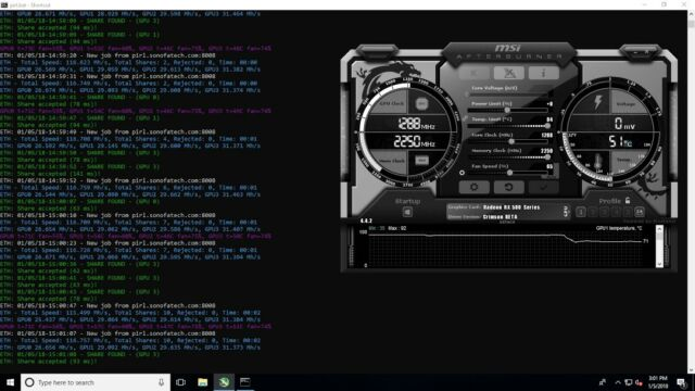 RX480/580 4GB/8GB MODDED BIOS 27-30+ MH/s NO CARD SAME DAY DELIVERY USA  SELLER