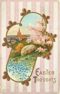 DB-Postcard-K278-Easter-Thoughts-Cross-Church-Vignette-Scenic-Cancel-1914