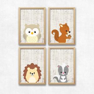 Details Zu Bild Set Wald Tiere Kunstdruck A4 Eule Eichhörnchen Igel Kinderzimmer Dekoration