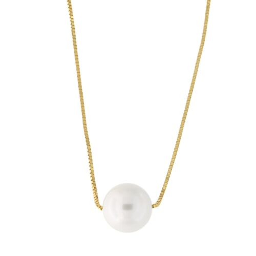 White or Rose Gold Box Chain 7mm White Simulated Pearl Necklace 14k Yellow