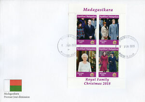 Christmas Stamps 2019.Details About Madagascar 2019 Fdc Christmas Queen Elizabeth William 4v Ms Cover Royalty Stamps