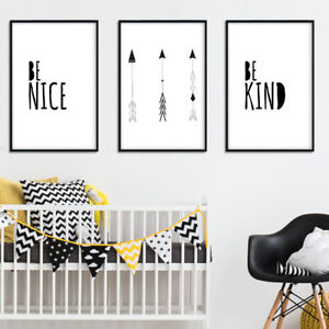 Details About Black White Minimalist Wall Art Canvas Poster Nursery Quote Prints Room Decor