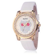 Alias Kim Lady White Leather Bracelet Steel Case Owl Crystal Dial Women's Watch