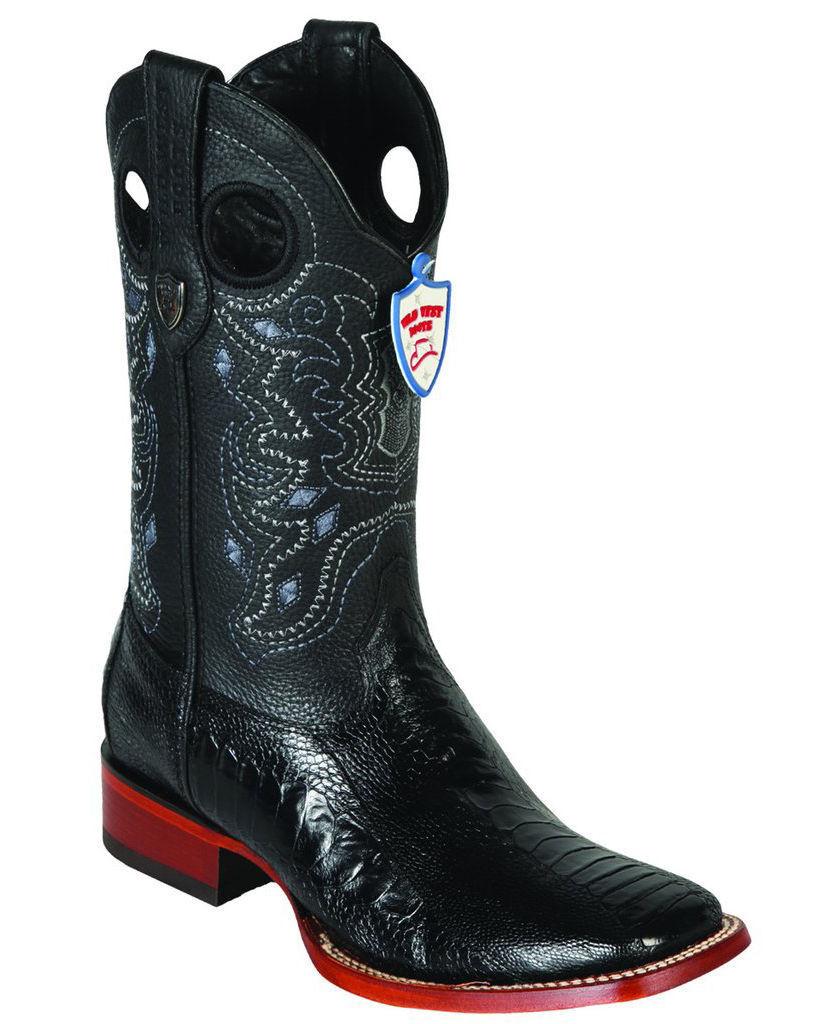 WILD WEST BLACK GENUINE OSTRICH LEG COWBOY BOOT RANCH-WIDE SQUARE-TOE (D)
