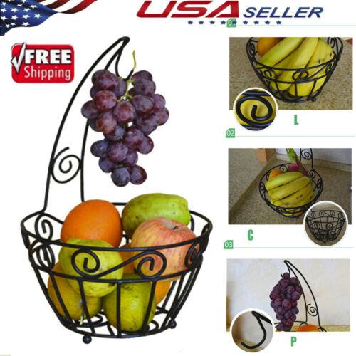 1/2-Tier Countertop Fruit Basket Stand Metal Wire Organizer