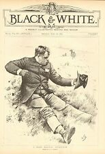 Horse, Rider Thrown, A Bank Holiday Sportsman, Humor, Vintage 1892 Antique Print