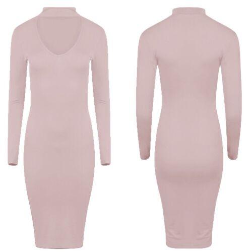New Womens Ladies Choker V Neck Long Sleeve Bodycon Midi Dress Plus Size UK 8-26