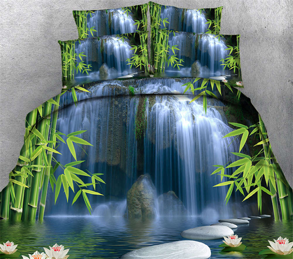 Quiet Bamboo Forest 3D Printing Duvet Quilt Doona Covers Pillow Case Bedding Set