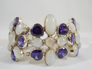 Huge-Chunky-Sterling-Silver-Moonstone-amp-Heart-Shape-Amethyst-Toggle-Bracelet