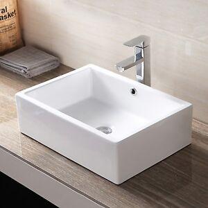 Rectangle Bathroom Porcelain Ceramic Vessel Sink Basin Bowl Faucet - Popup with bathroom