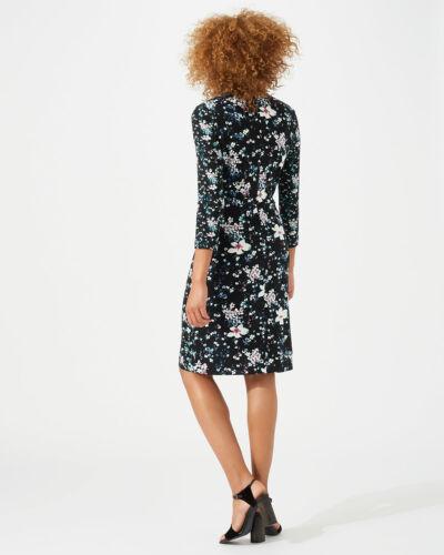 New Jigsaw Black Mix Floral Falling Freesia Jersey Dress Sz XS UK 8