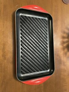 LE-CREUSET-Rectangular-Enameled-Cast-Iron-Skinny-Griddle-Grill-Pan-40-Flame