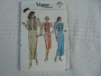 Vintage Vogue 9808 Misses' Jewel Neck Dress Sewing Pattern Size 8