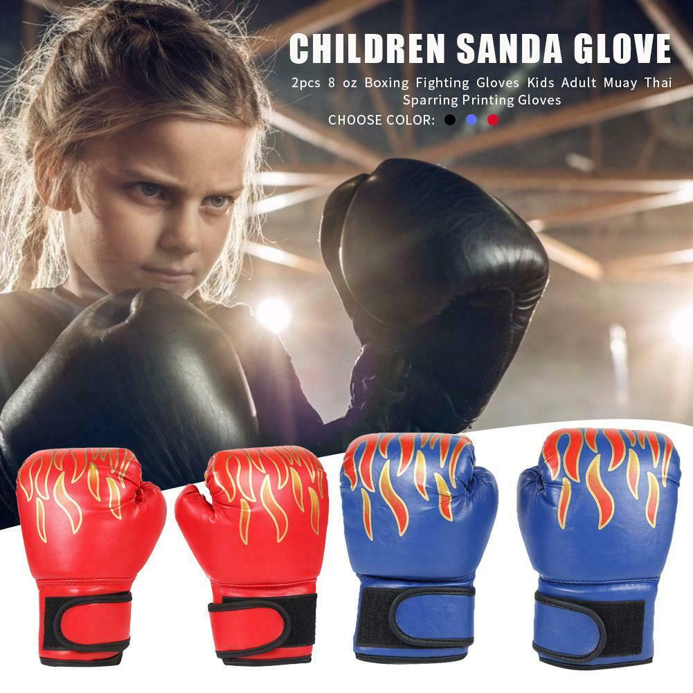 Sale Childs 3~12y Boys Girls Kid Fire Boxing Gloves Punching Fight Training #