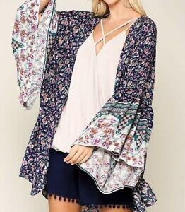 New-Gigio-By-Umgee-Kimono-S-Small-Blue-Floral-Ruffle-Sleeve-Boho-Peasant