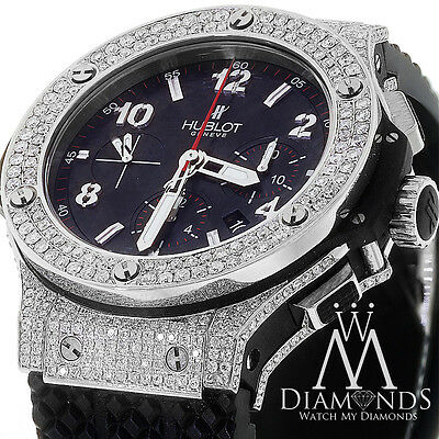 Hublot 301.SX.130.RX Big Bang Diamond Watch Carbon Dial on Rubber Strap