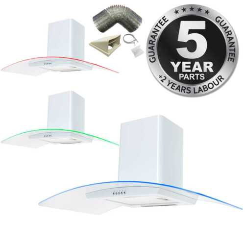 SIA CPE91WH 90cm White 3 Colour LED Cooker Hood Extractor Fan And 1m Ducting Kit