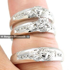 claddagh diamond 3 ring 10K gold wedding band set matching groom