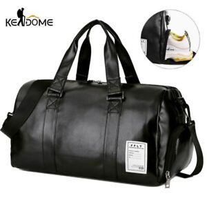 Men Leather Vintage Travel Gym Bag Weekend Overnight Bag Duffle Shoulder Handbag