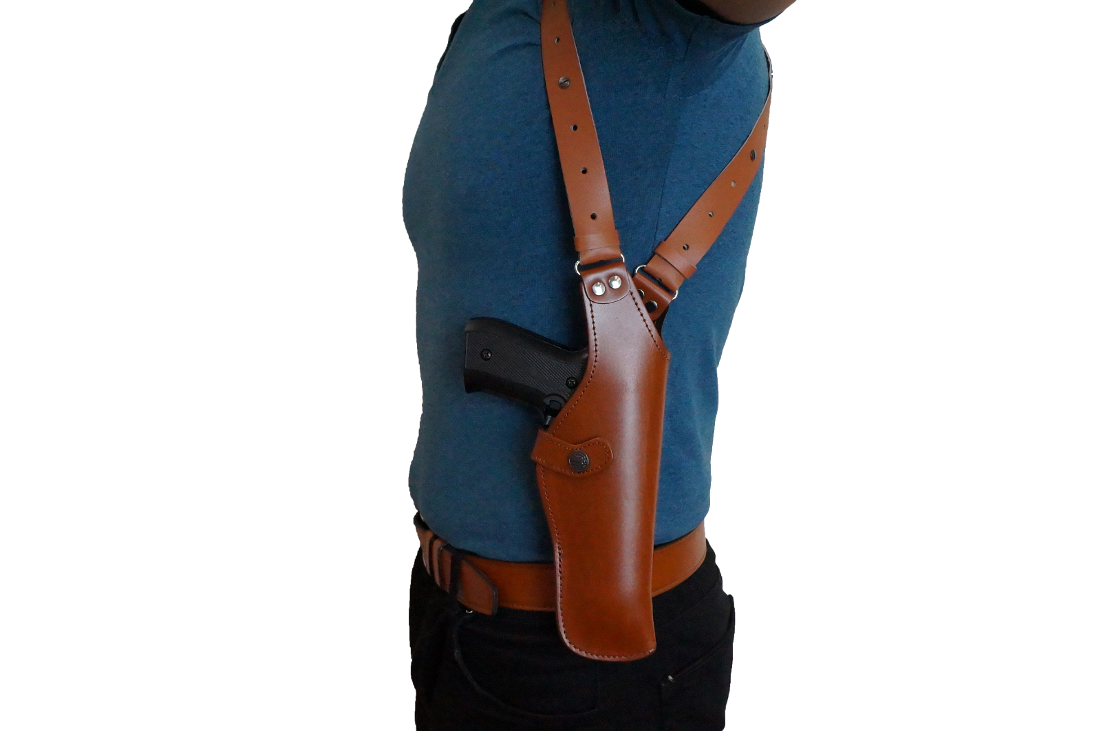 K452-911 Leder Vertical Shoulder Holster with Suede Suede Suede Lining Colt 1911 up to 5