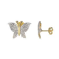 Ladies Butterfly Earrings 14K Yellow Gold Finish Sterling Silver 925