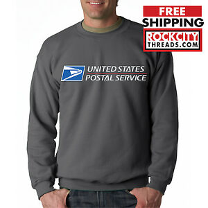 USPS POSTAL CHARCOAL CREW NECK Sweatshirt Logo on Chest United States Service US