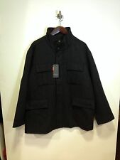 Ben Sherman heringbone mix di lana cappotto / ANTRACITE - 4XL