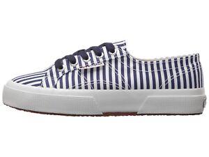 b44b11ece0c2 Superga 2750 FABRICSHIRTU Lace-Up Sneaker Navy Stripe Size US Women ...