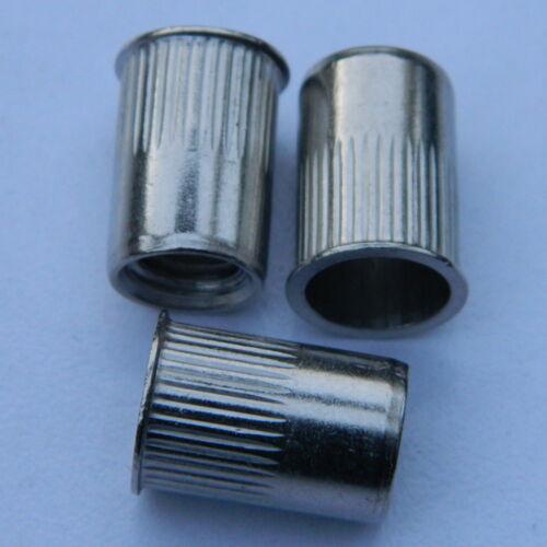 Einnietmuttern M8 ALU Flachkopf  glatt 0,5-3mm Nietmuttern 50 Stk