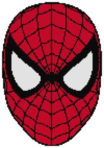 Free US Shipping Spiderman Face Counted Cross Stitch Pattern