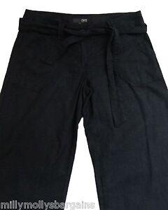 New-Womens-Black-Linen-NEXT-Trousers-Size-8-X-Long-6-Petite