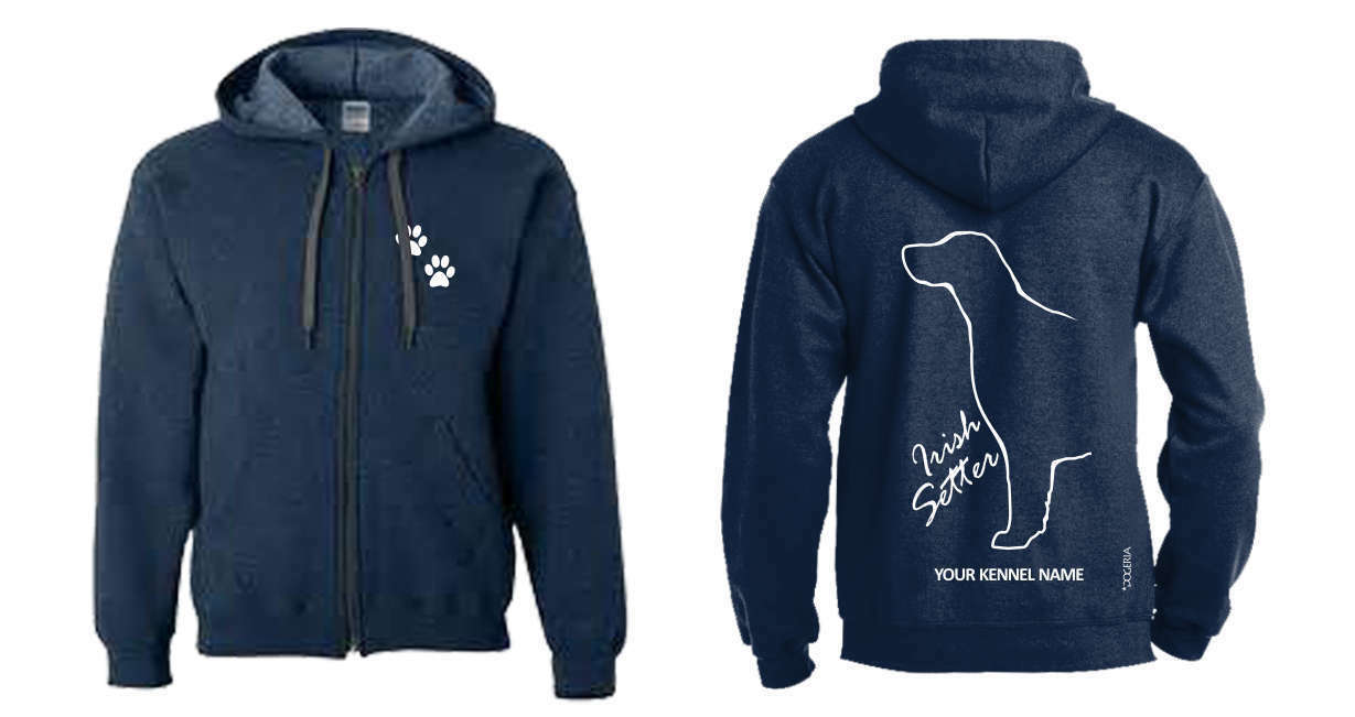 Irish Setter Full Zipped Dog Breed Hoodie, Exclusive Dogeria Design