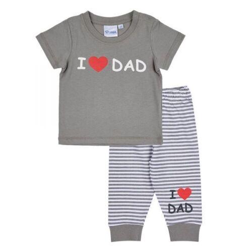 """Taille 62-92 chemise Lamaloli Baby Set /""""I Love Papa/"""" Gris pantalon"""